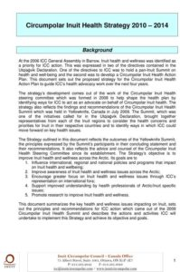 Circumpolar Inuit Health Strategy 2010-2014
